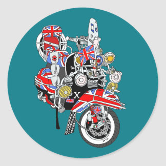 Union Jack Mods Bike Round Sticker