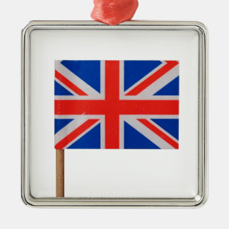 Union Jack National Flag United Kingdom Silver-Colored Square Decoration