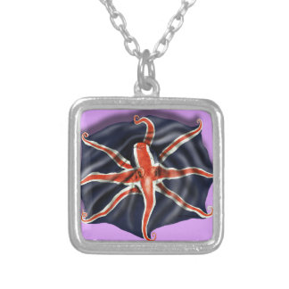 Union Jack Octopus Light Silver Plated Necklace