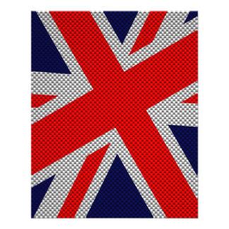Union Jack on Carbon Fiber Style Print 11.5 Cm X 14 Cm Flyer