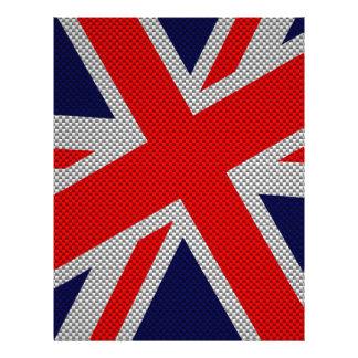 Union Jack on Carbon Fiber Style Print 21.5 Cm X 28 Cm Flyer