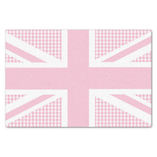 Union Jack on Pink Country Gingham Pattern Tissue Paper