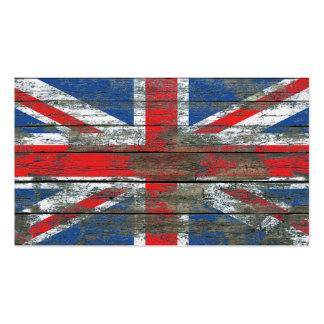 Union Jack on Rough Wood Boards Effect Pack Of Standard Business Cards