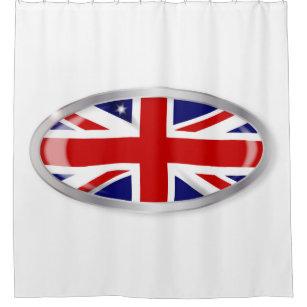 Union Jack Oval Button Shower Curtain