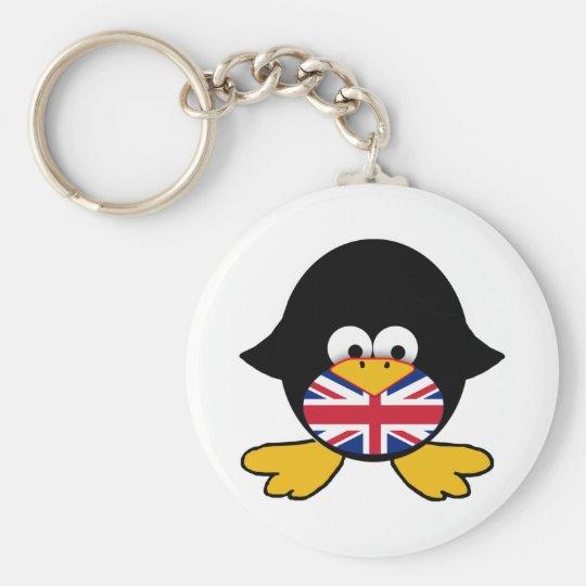 Union Jack Penguin Basic Round Button Key Ring