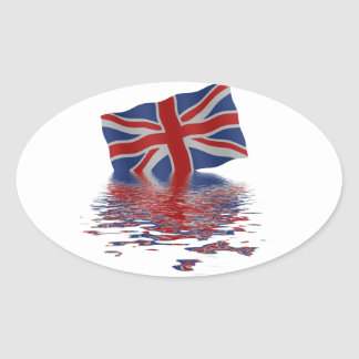 Union Jack reflected in water Oval Stickers