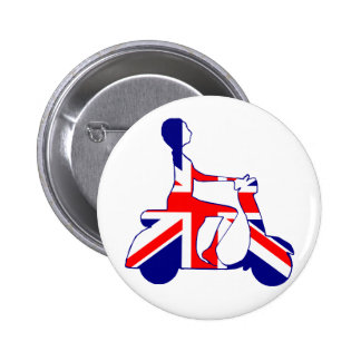 Union Jack scooter girl 6 Cm Round Badge