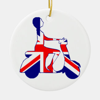 Union Jack scooter girl Christmas Ornament