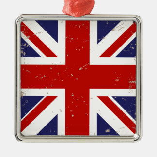 Union Jack Shabby Chic Silver-Colored Square Decoration