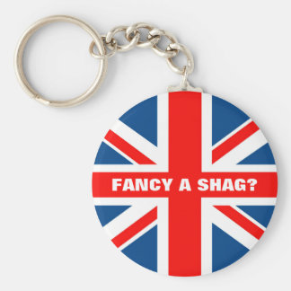 Union Jack shag Basic Round Button Key Ring