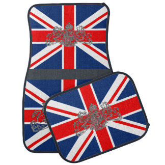 Union Jack Silver Dieu Mon Droit British Coat Arms Car Mat