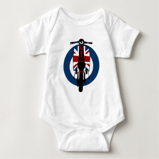 Union jack sixties scooter art 2 baby bodysuit