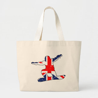 Union Jack SNOWBOARDER (blk) Large Tote Bag