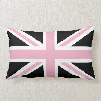 Union Jack UK Flag Pink and Black Lumbar Pillow