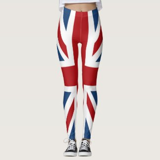 Union Jack UK Flag Red White Blue Leggings