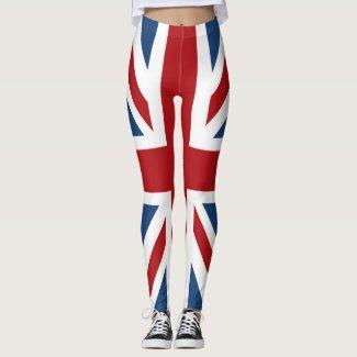 Union Jack UK Flag Red White Blue Leggings