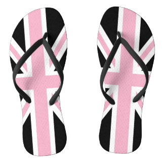 Union Jack UK Patriotic Flag Pink Black White Flip Flops