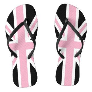 Union Jack UK Patriotic Flag Pink Black White Flip Flops