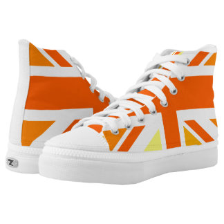 Union Jack UK United Kingdom In Orange High Tops