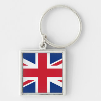 Union Jack United Kingdom Silver-Colored Square Key Ring