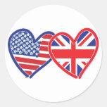 Union Jack/USA Classic Round Sticker