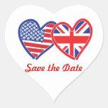Union Jack/USA Heart Sticker