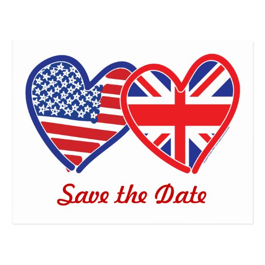 Union Jack/USA Save the Date Postcard