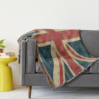 Union Jack Vintage Distressed Throw Blanket