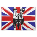 Union Jack with retro scooter boy and girl Placemat