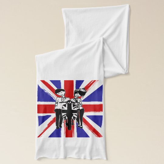 Union Jack with retro scooter boy and girl Scarf