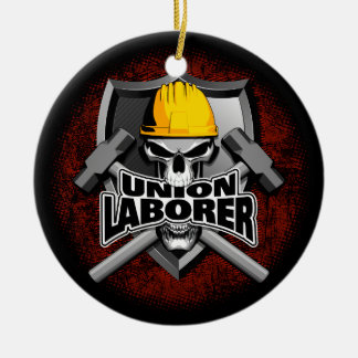 Union Laborer with Crossed Hammers Round Ceramic Decoration