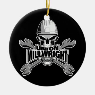 Union Millwright: Skull and Wrenches Christmas Ornament