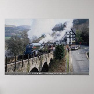 Union of South Africa Steam Train, on Berwyn Viadu Poster