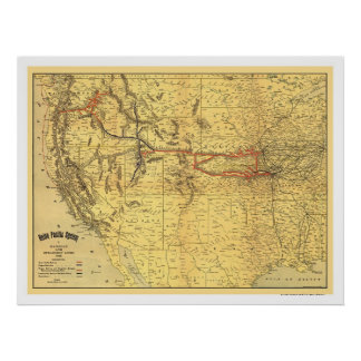 Union Pacific Railroad Map 1900 Print