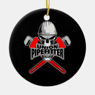 Union Pipefitter: Skull and Wrenches Christmas Ornament