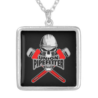 Union Pipefitter: Skull and Wrenches Square Pendant Necklace