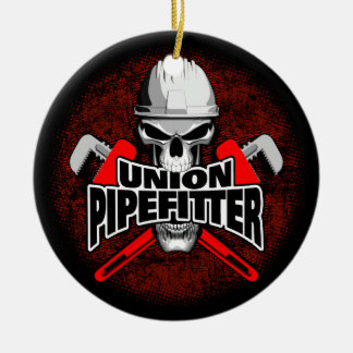 Union Pipefitter Skull Christmas Ornament