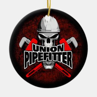 Union Pipefitter Skull Round Ceramic Decoration