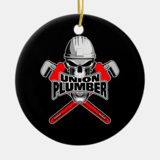 Union Plumber: Skull and Pipe Wrenches Christmas Ornament