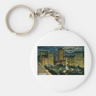 Union Square by Night, San Francisco, Cal. ~ 1910 Basic Round Button Key Ring