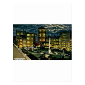 Union Square by Night, San Francisco, Cal. ~ 1910 Postcard