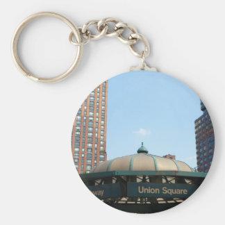 Union Square Subway NYC Basic Round Button Key Ring