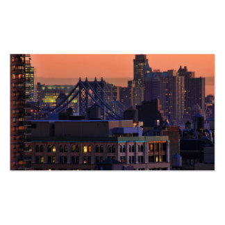 Union Square view of Manhattan Bridge Pink Sky Business Card Template