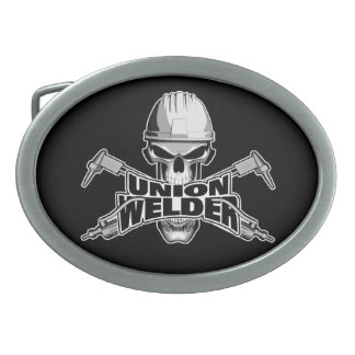 Union Welder: Skull and Torches Oval Belt Buckle