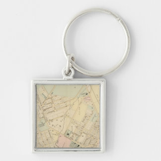 Unionport, W Chester, New York Silver-Colored Square Key Ring