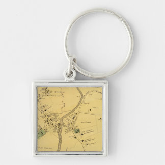 Unionport, Westchester, Schuylerville Silver-Colored Square Key Ring