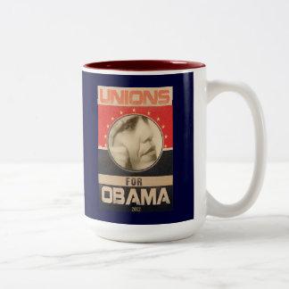 Unions for Obama 2012 Grunge Two-Tone Mug