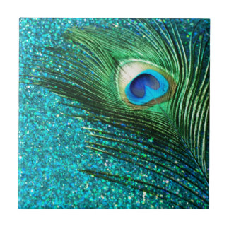 Uniqe Aqua Peacock Small Square Tile