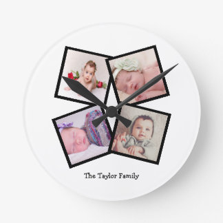 Unique 4 Photo Collage Personalized Make Your Own Round Clock