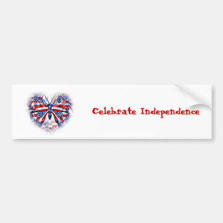 Unique 4th of July Butterfly Bumper Sticker